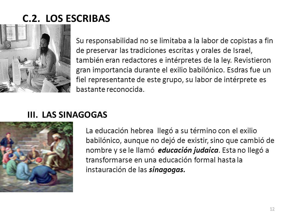 C.2. LOS ESCRIBAS III. LAS SINAGOGAS