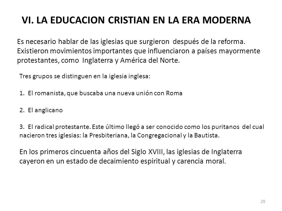 VI. LA EDUCACION CRISTIAN EN LA ERA MODERNA