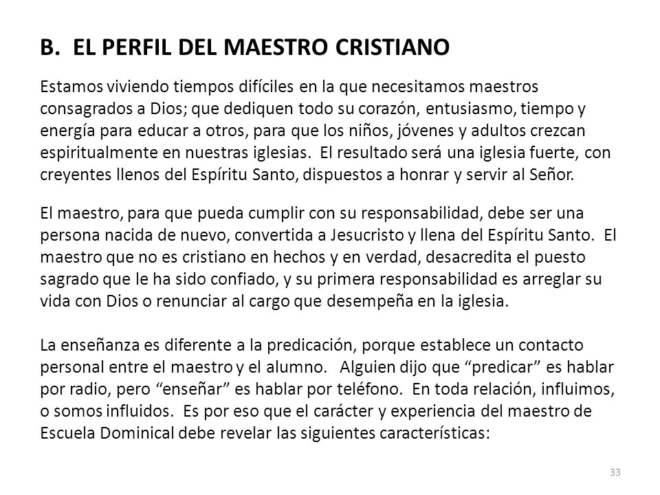 B. EL PERFIL DEL MAESTRO CRISTIANO