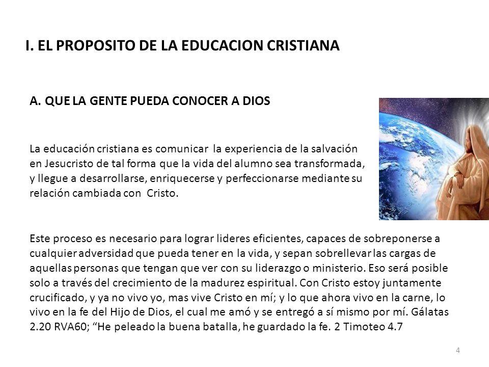 I. EL PROPOSITO DE LA EDUCACION CRISTIANA