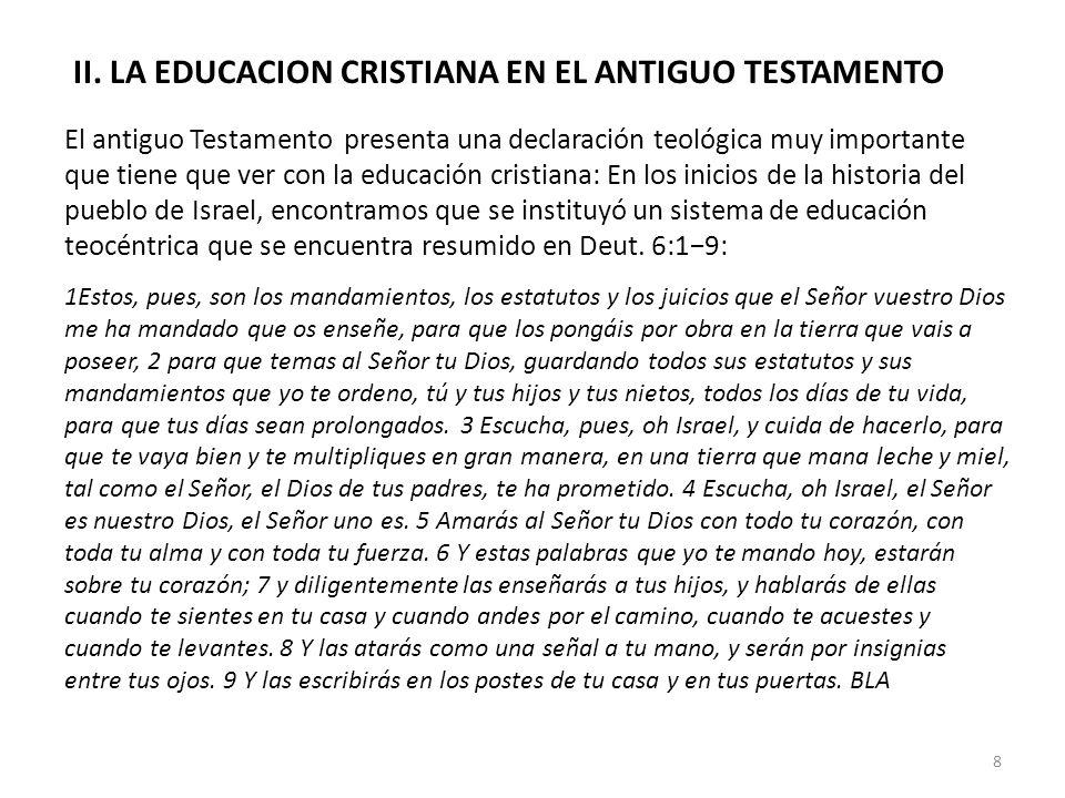 II. LA EDUCACION CRISTIANA EN EL ANTIGUO TESTAMENTO