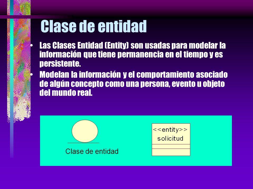 Clase de entidad Las Clases Entidad (Entity) son usadas para modelar la información que tiene permanencia en el tiempo y es persistente.