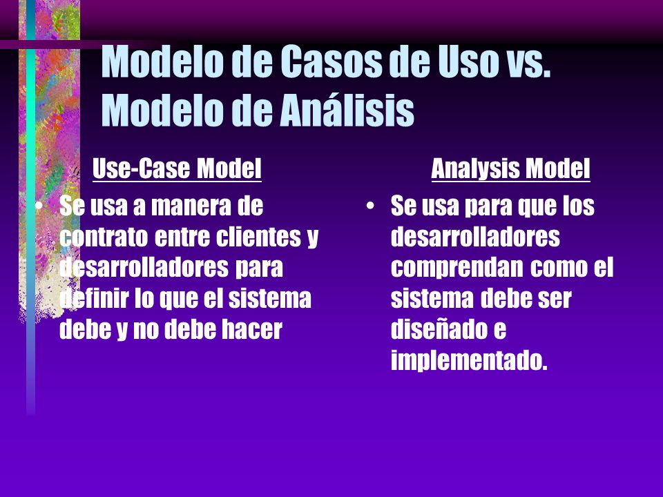 Modelo de Casos de Uso vs. Modelo de Análisis