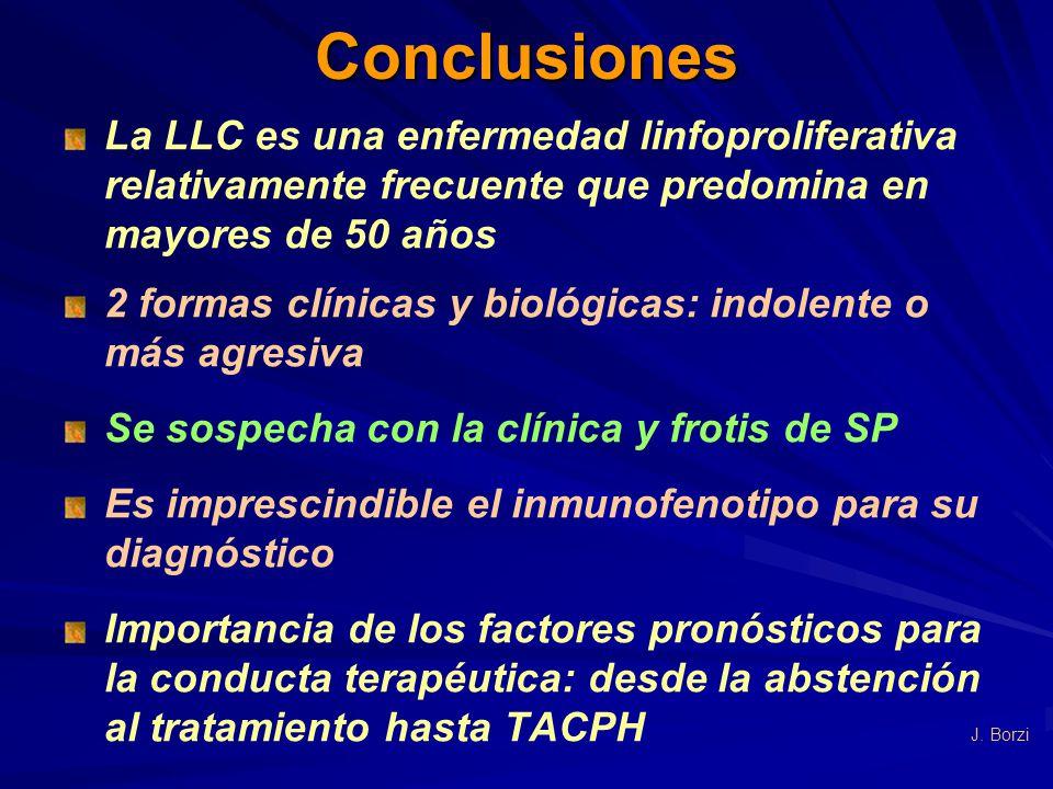 Conclusiones La LLC es una enfermedad linfoproliferativa relativamente frecuente que predomina en mayores de 50 años.