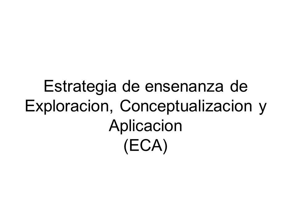 Estrategia de ensenanza de Exploracion, Conceptualizacion y Aplicacion (ECA)