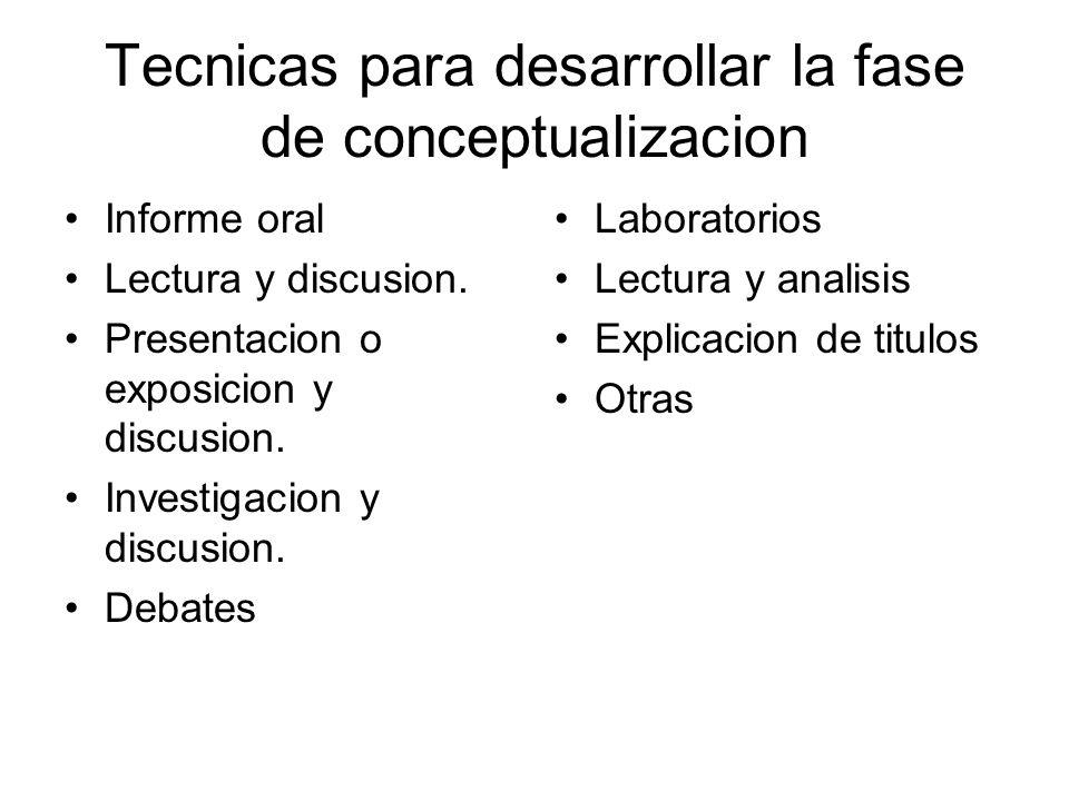 Tecnicas para desarrollar la fase de conceptualizacion