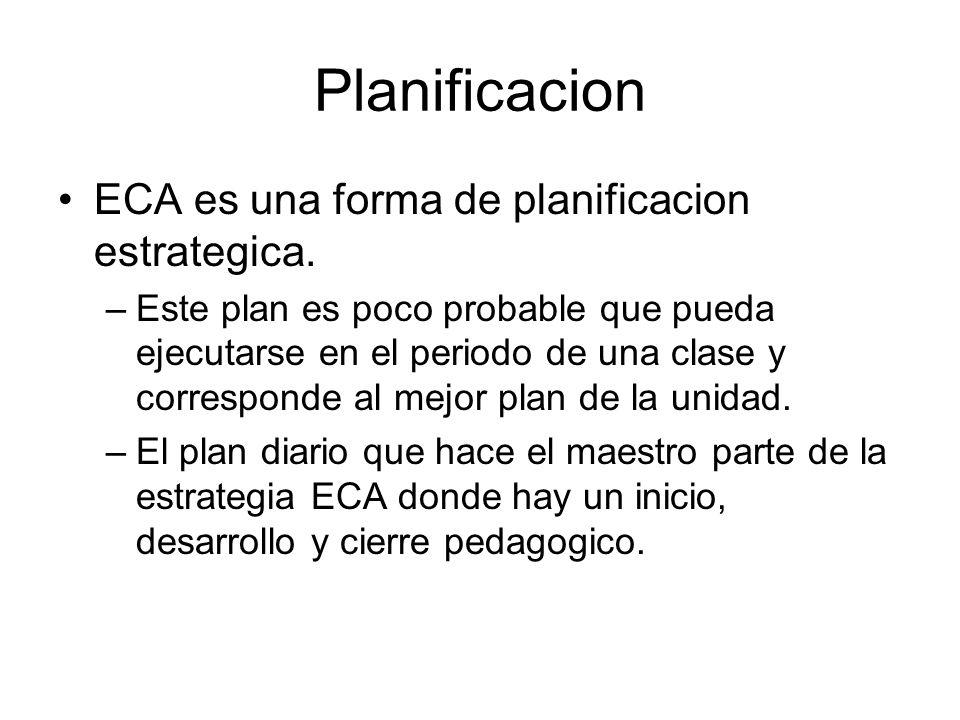 Planificacion ECA es una forma de planificacion estrategica.