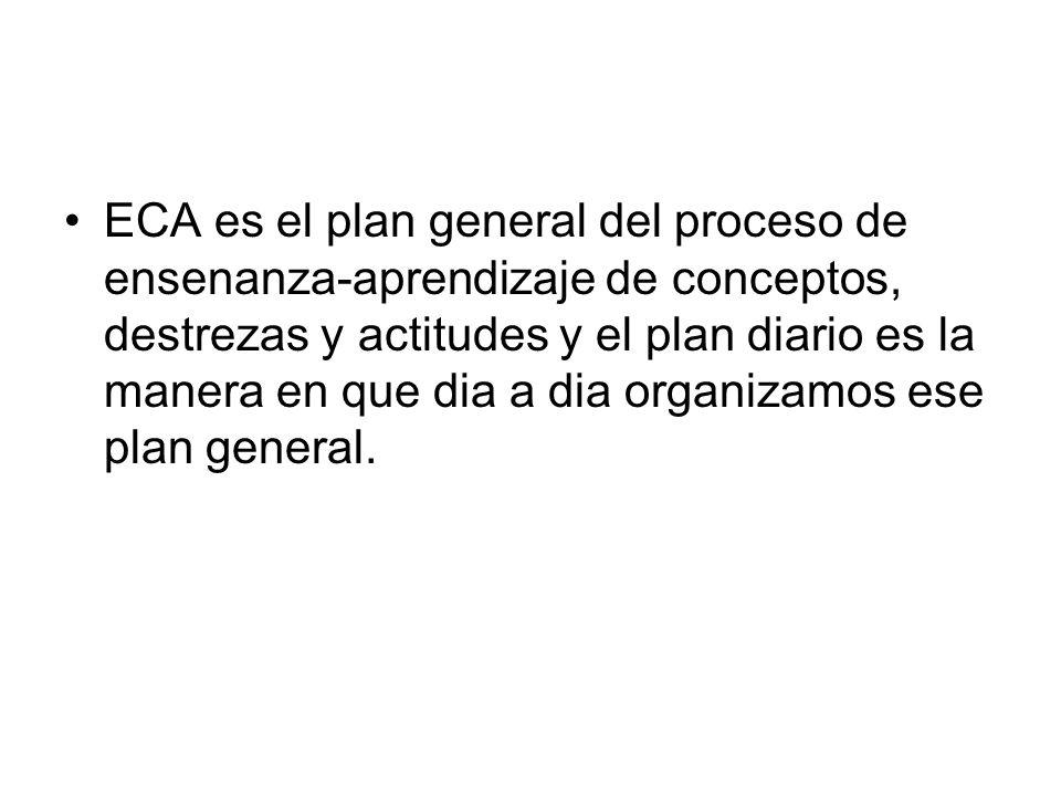 ECA es el plan general del proceso de ensenanza-aprendizaje de conceptos, destrezas y actitudes y el plan diario es la manera en que dia a dia organizamos ese plan general.