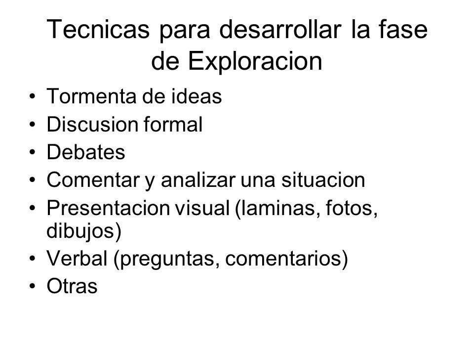 Tecnicas para desarrollar la fase de Exploracion