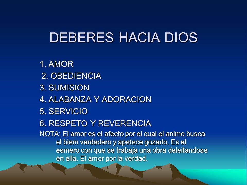 DEBERES HACIA DIOS 1. AMOR 3. SUMISION 4. ALABANZA Y ADORACION