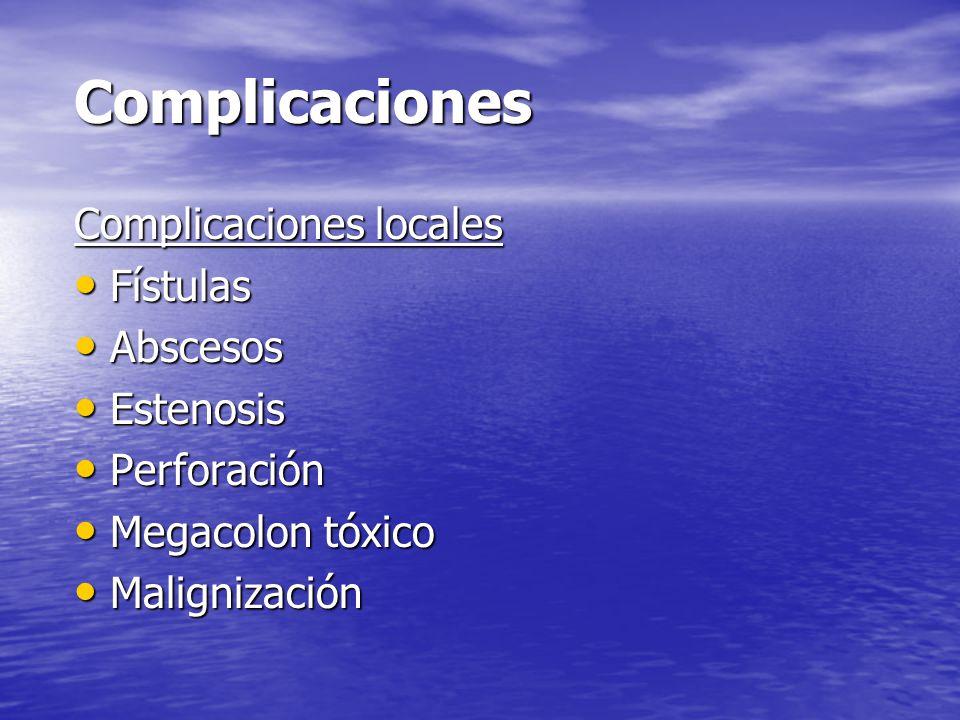 Complicaciones Complicaciones locales Fístulas Abscesos Estenosis