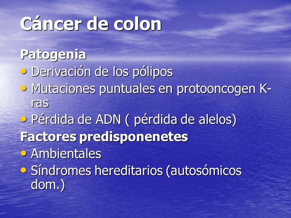 Cáncer de colon Patogenia Derivación de los pólipos