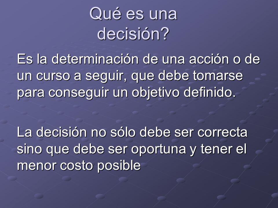 Qué es una decisión Es la determinación de una acción o de un curso a seguir, que debe tomarse para conseguir un objetivo definido.