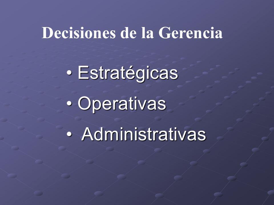 • Estratégicas • Operativas • Administrativas