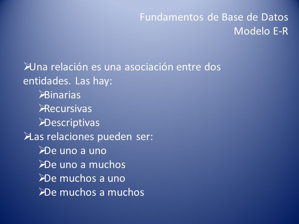 Fundamentos de Base de Datos Modelo E-R