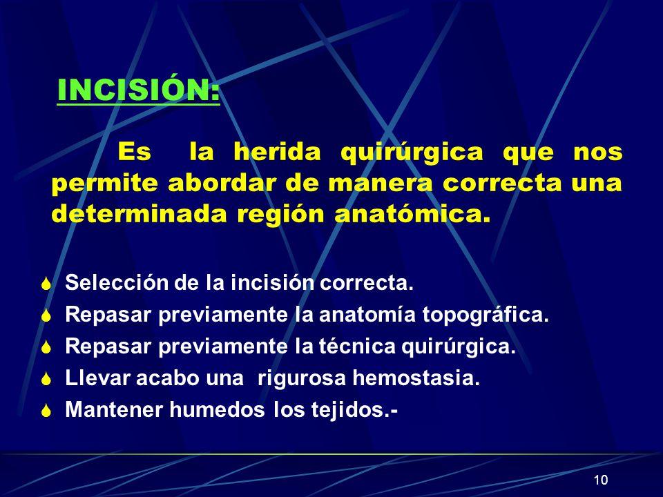 INCISIÓN: Es la herida quirúrgica que nos permite abordar de manera correcta una determinada región anatómica.