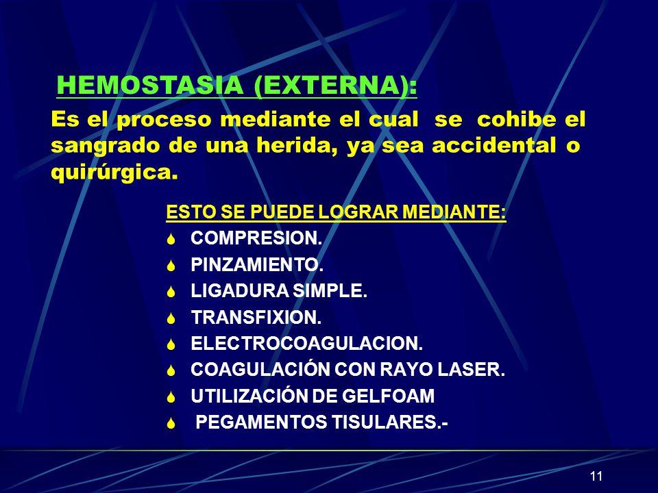 HEMOSTASIA (EXTERNA):
