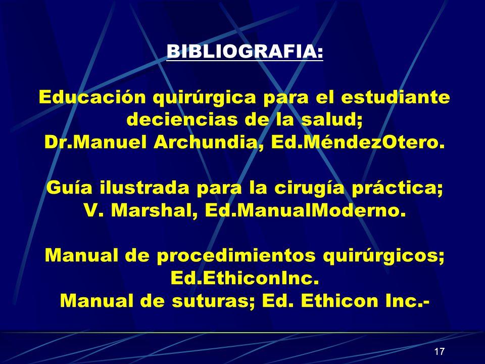 BIBLIOGRAFIA: Educación quirúrgica para el estudiante deciencias de la salud; Dr.Manuel Archundia, Ed.MéndezOtero.