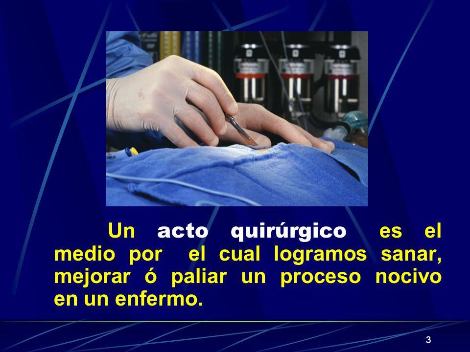 Un acto quirúrgico es el medio por el cual logramos sanar, mejorar ó paliar un proceso nocivo en un enfermo.
