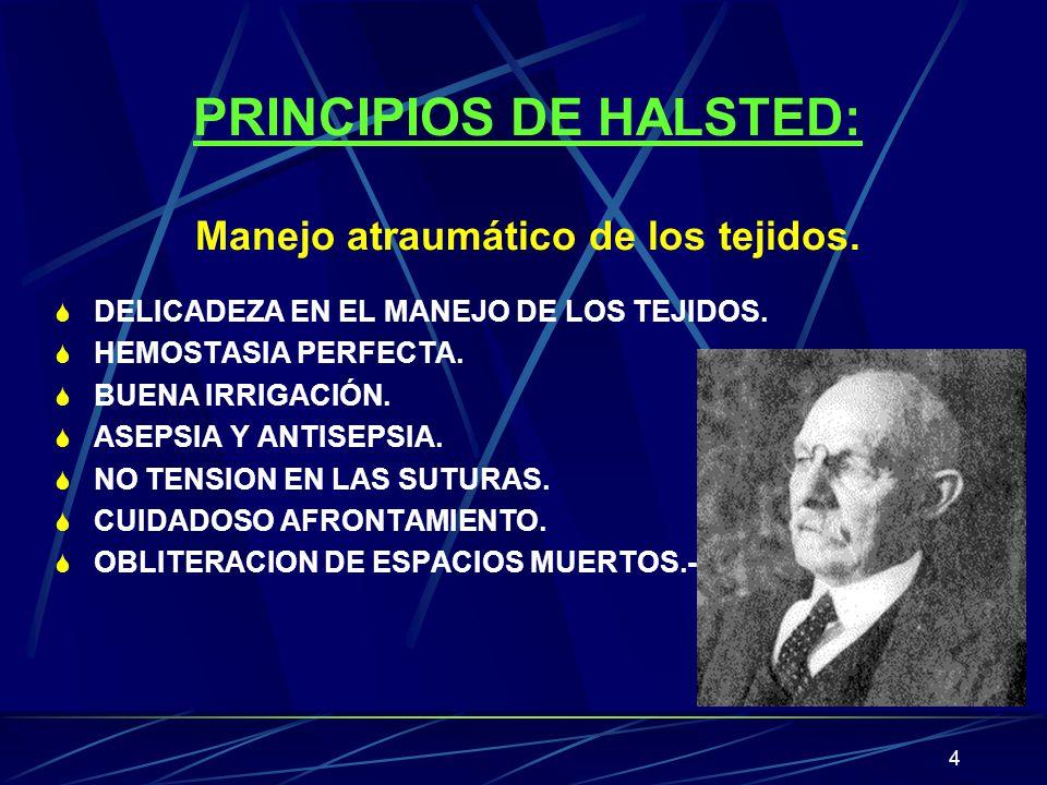 PRINCIPIOS DE HALSTED: Manejo atraumático de los tejidos.