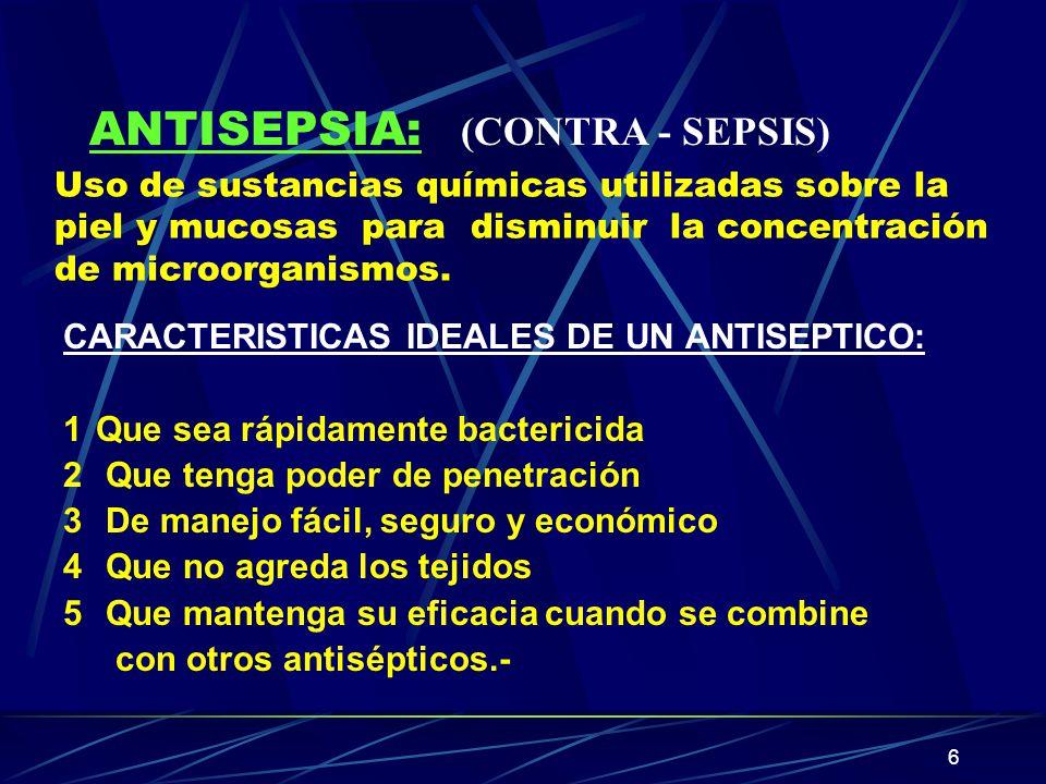ANTISEPSIA: (CONTRA - SEPSIS)