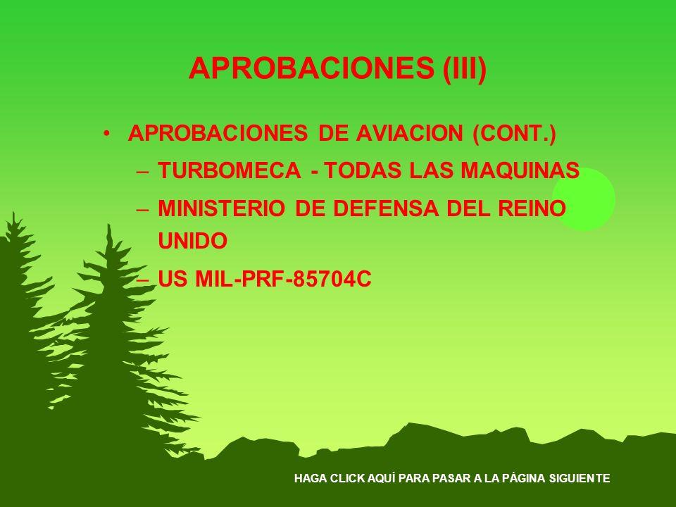 APROBACIONES (III) APROBACIONES DE AVIACION (CONT.)