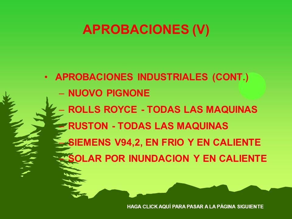 APROBACIONES (V) APROBACIONES INDUSTRIALES (CONT.) NUOVO PIGNONE