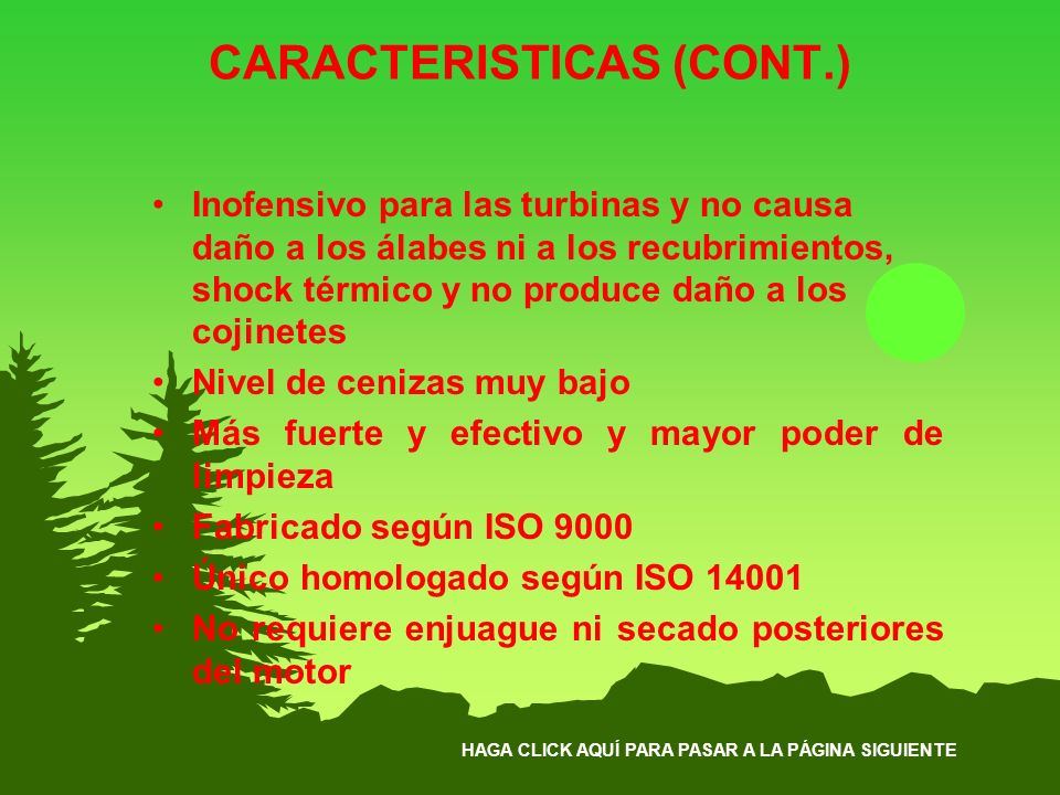 CARACTERISTICAS (CONT.)