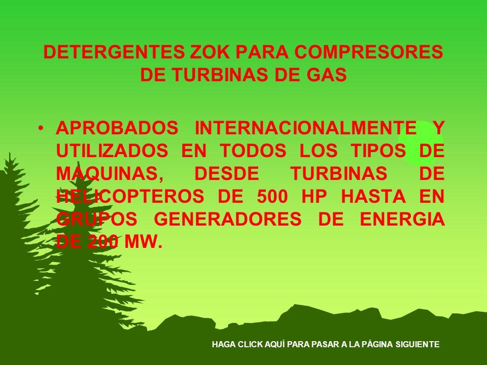 DETERGENTES ZOK PARA COMPRESORES DE TURBINAS DE GAS