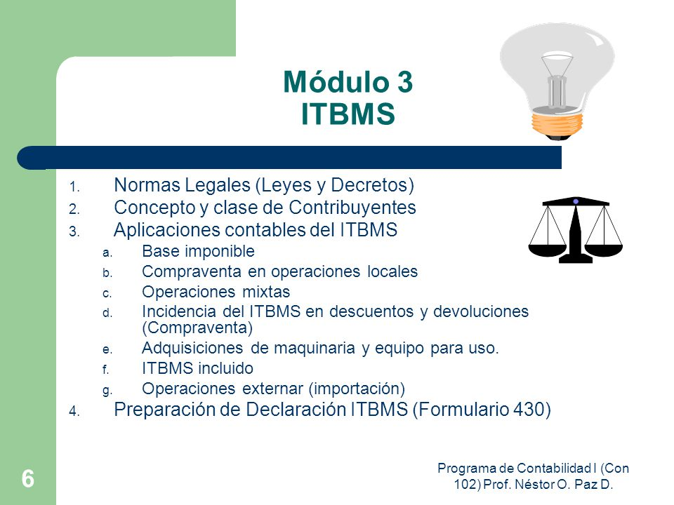Programa de Contabilidad I (Con 102) Prof. Néstor O. Paz D.