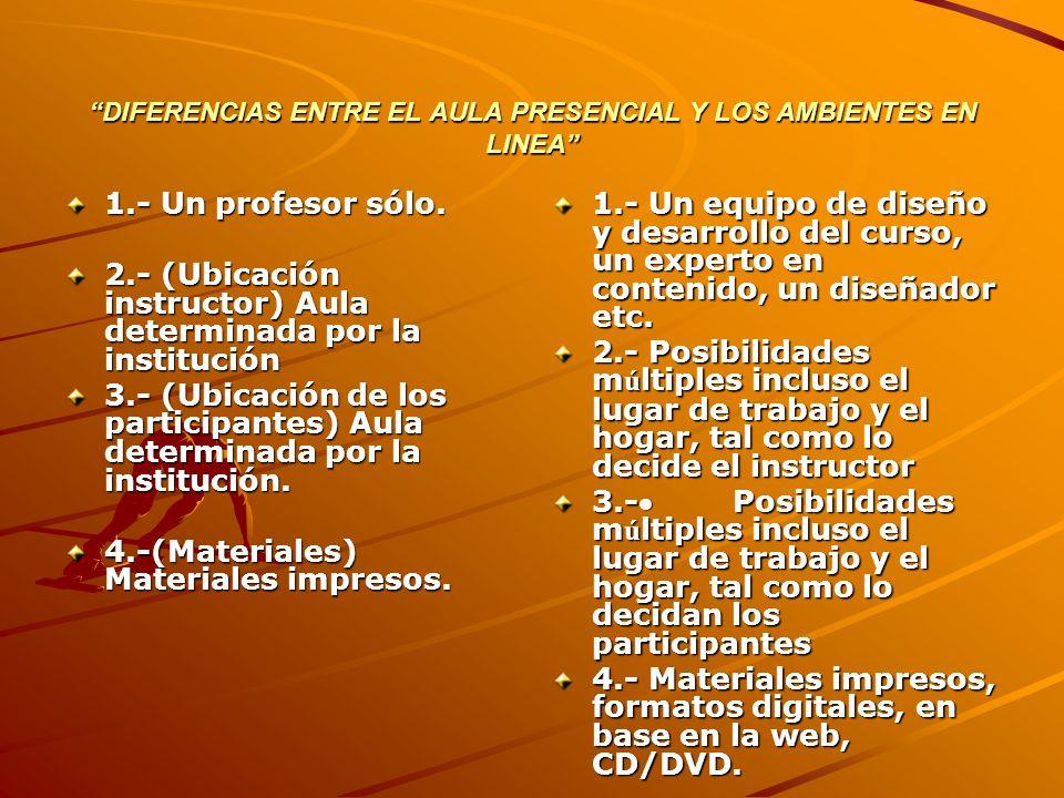 DIFERENCIAS ENTRE EL AULA PRESENCIAL Y LOS AMBIENTES EN LINEA