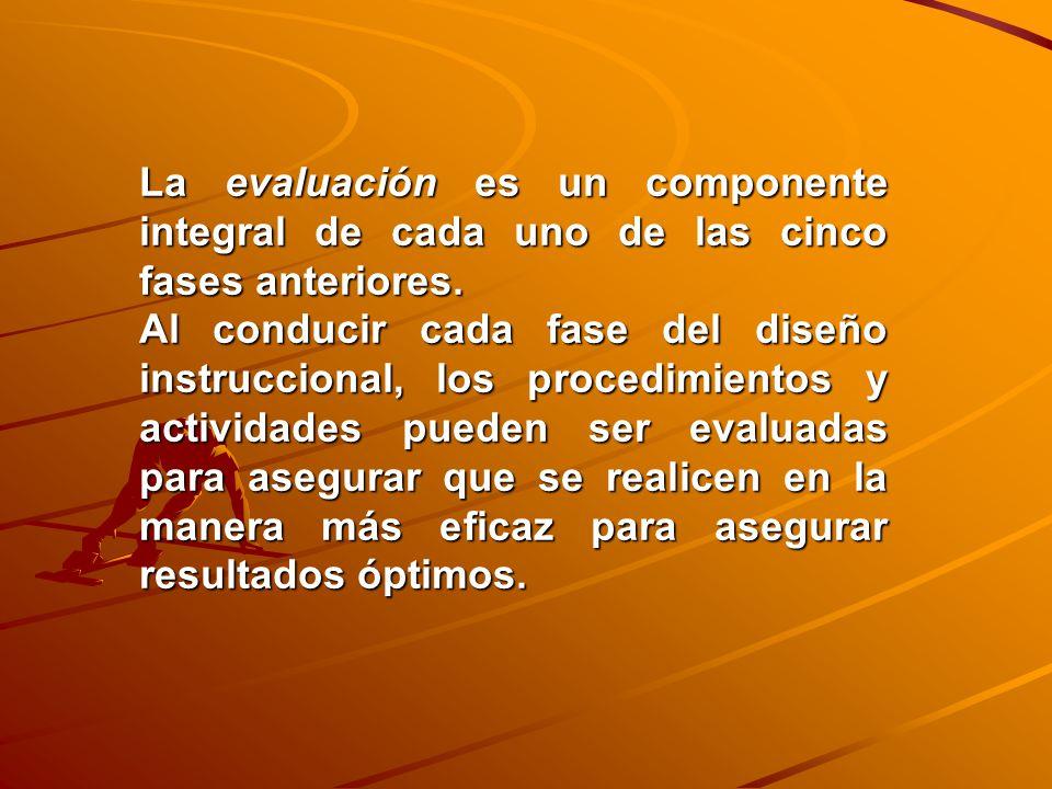 La evaluación es un componente integral de cada uno de las cinco fases anteriores.
