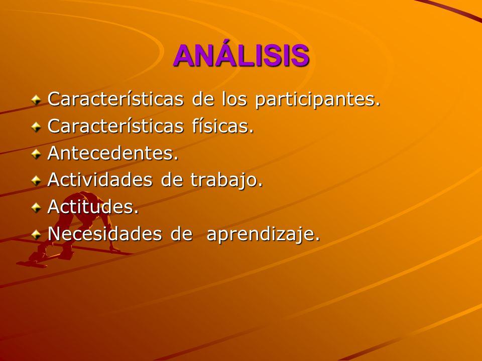 ANÁLISIS Características de los participantes.