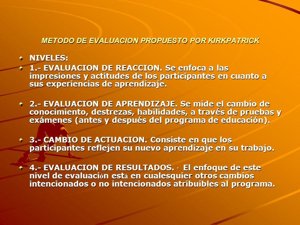 METODO DE EVALUACION PROPUESTO POR KIRKPATRICK