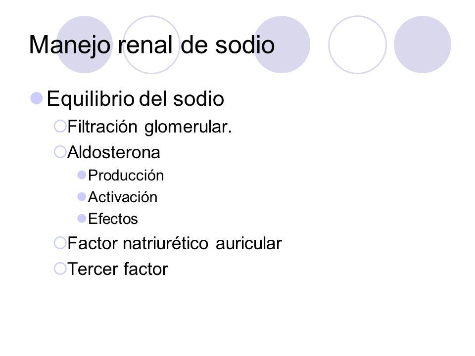 Manejo renal de sodio Equilibrio del sodio Filtración glomerular.