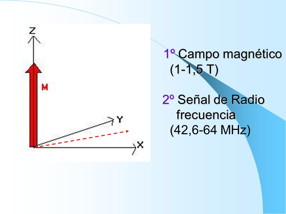 1º Campo magnético. (1-1,5 T) 2º Señal de Radio frecuencia