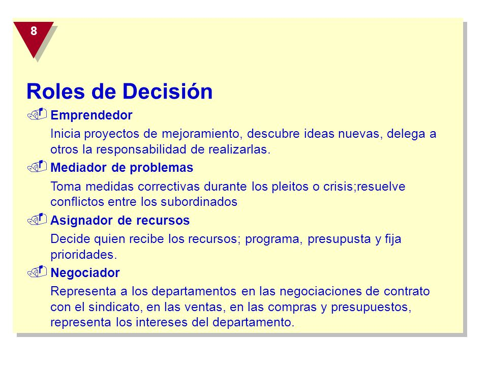 Roles de Decisión Emprendedor