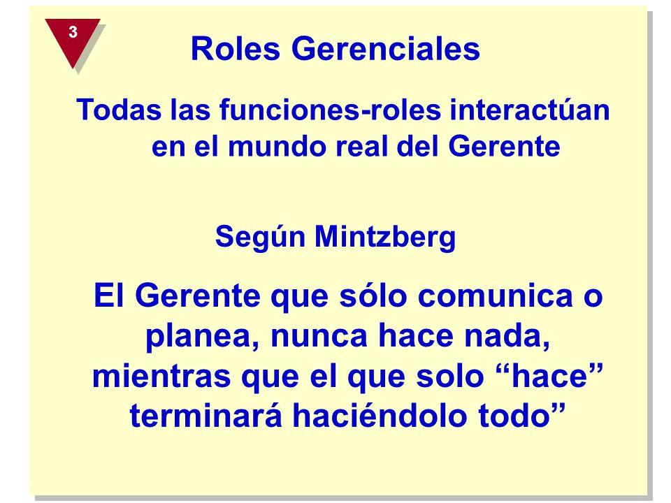 Todas las funciones-roles interactúan en el mundo real del Gerente