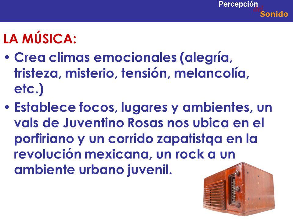 del Percepción. Sonido. LA MÚSICA: Crea climas emocionales (alegría, tristeza, misterio, tensión, melancolía, etc.)