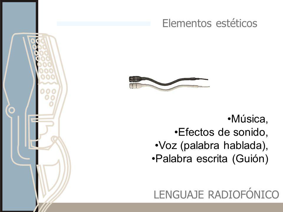 Elementos estéticos Música, Efectos de sonido, Voz (palabra hablada), Palabra escrita (Guión) LENGUAJE RADIOFÓNICO.
