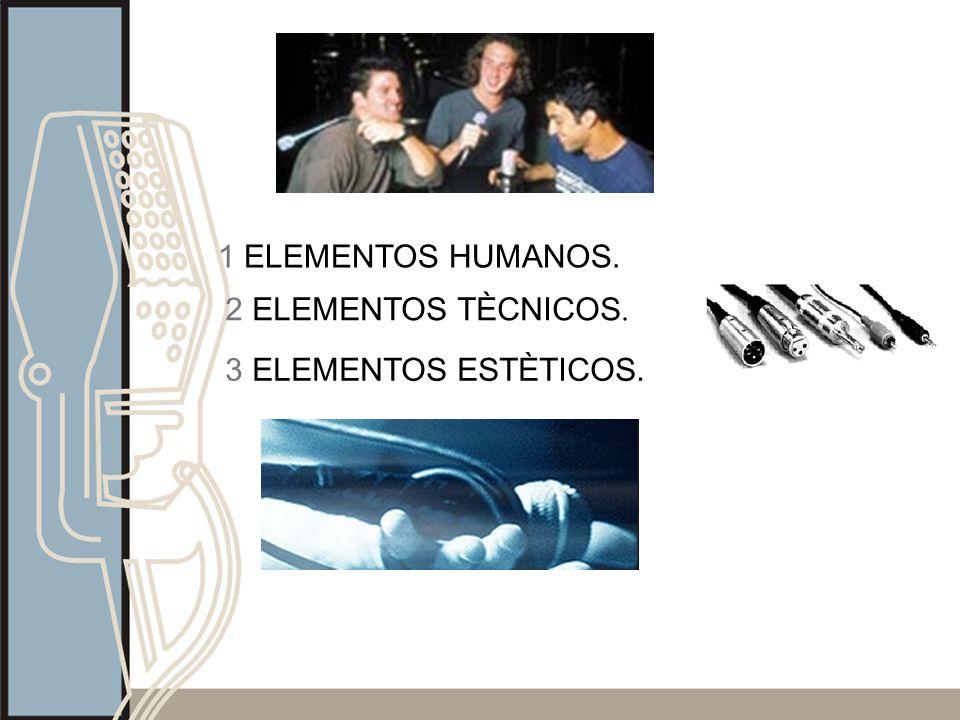 1 ELEMENTOS HUMANOS. 2 ELEMENTOS TÈCNICOS. 3 ELEMENTOS ESTÈTICOS.