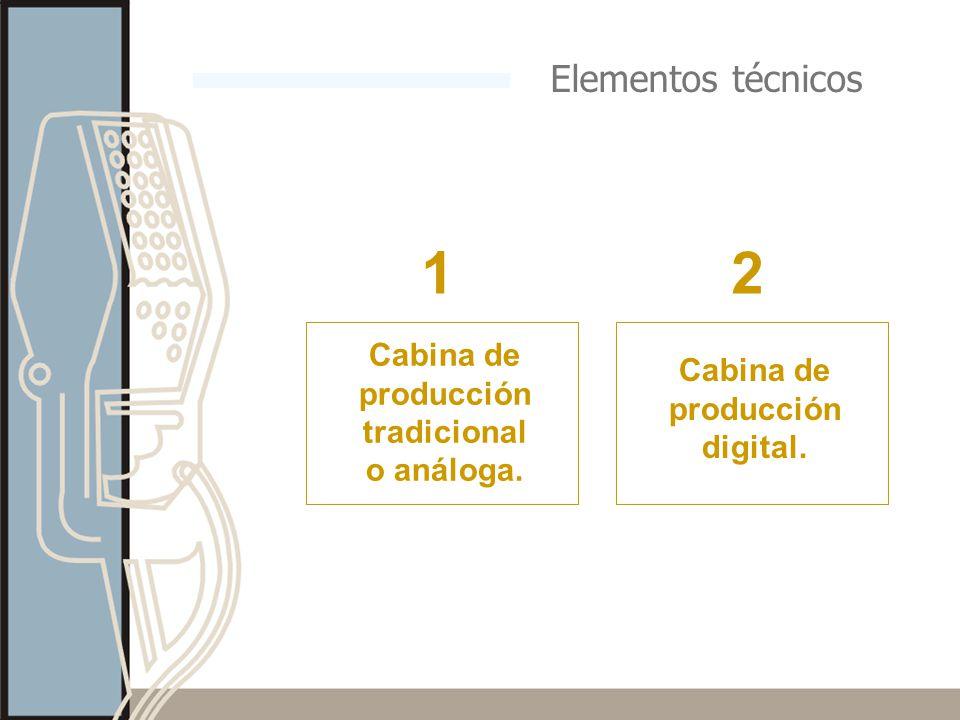1 2 Elementos técnicos Cabina de producción tradicional o análoga.
