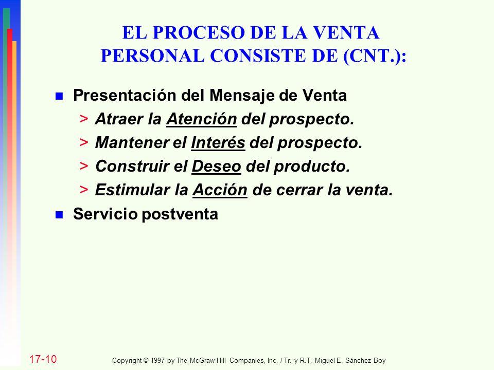 EL PROCESO DE LA VENTA PERSONAL CONSISTE DE (CNT.):