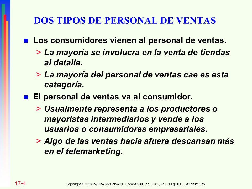 DOS TIPOS DE PERSONAL DE VENTAS