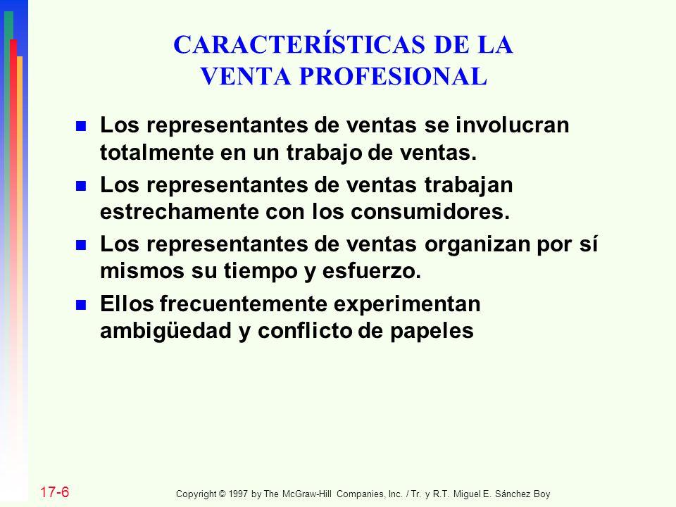 CARACTERÍSTICAS DE LA VENTA PROFESIONAL