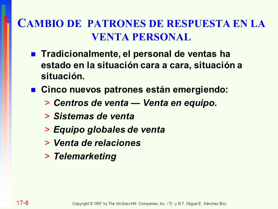 CAMBIO DE PATRONES DE RESPUESTA EN LA VENTA PERSONAL