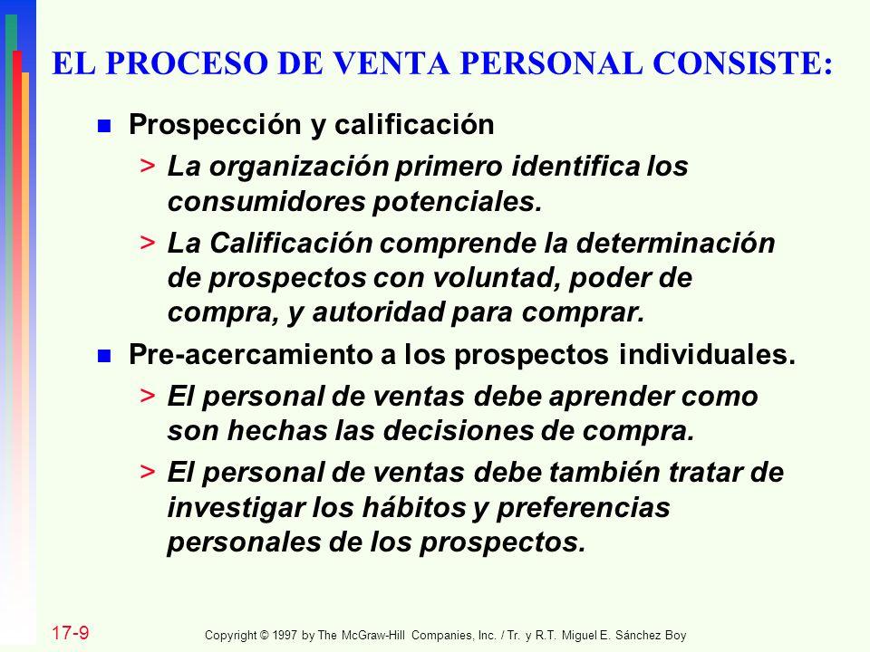 EL PROCESO DE VENTA PERSONAL CONSISTE: