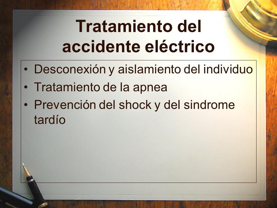 Tratamiento del accidente eléctrico