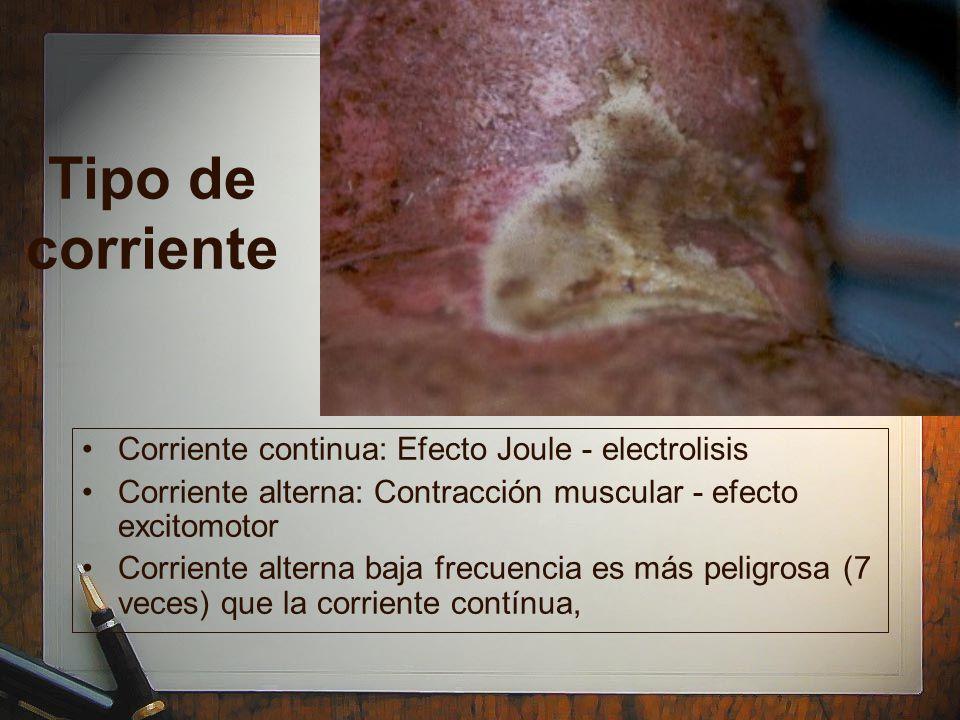 Tipo de corriente Corriente continua: Efecto Joule - electrolisis