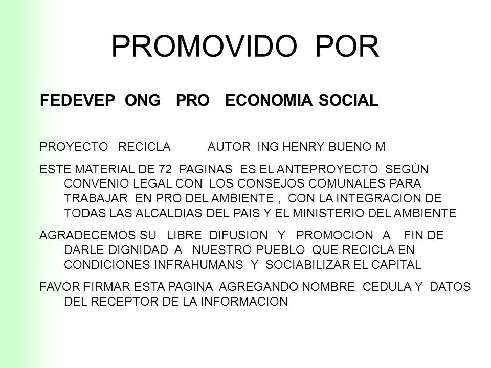 PROMOVIDO POR FEDEVEP ONG PRO ECONOMIA SOCIAL